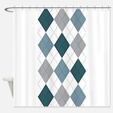 Blue and White argyle Shower Curtain