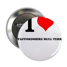 """I Love My STAFFORDSHIRE BULL TERRIER 2.25"""" Button"""