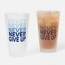 Never Give Up Blue Light Drinking Glass