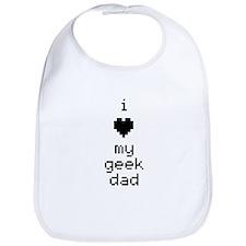 I Heart My Geek Dad (Black) Bib