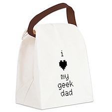 I Heart My Geek Dad (Black) Canvas Lunch Bag