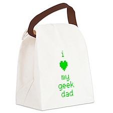 I Heart My Geek Dad (Green) Canvas Lunch Bag