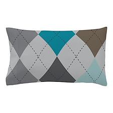 Gray and Blue Argyle Pillow Case