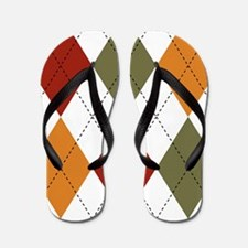 Red, Green and Orange Argyle Flip Flops