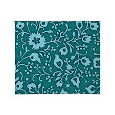 Vintage Aqua Blue Floral Pattern Throw Blanket