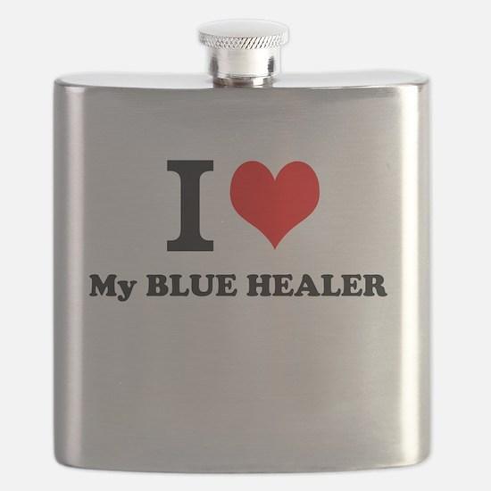 I Love My BLUE HEALER Flask