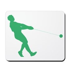 Green Hammer Throw Silhouette Mousepad