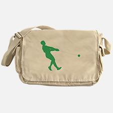 Green Hammer Throw Silhouette Messenger Bag
