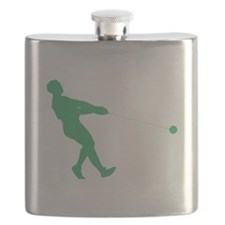 Green Hammer Throw Silhouette Flask