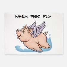When pigs fly 5'x7'Area Rug