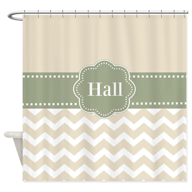 Tan Green Chevron Personalized Shower Curtain By