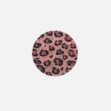 Pink Black Leopard Print Mini Button