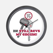He Revs My Engine 15 Wall Clock