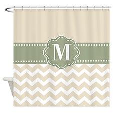 Tan Green Chevron Monogram Shower Curtain