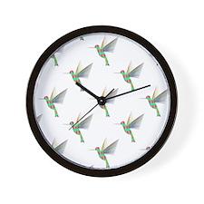 Rainbow Hummingbird Pattern Wall Clock