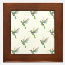 Rainbow Hummingbird Pattern Framed Tile