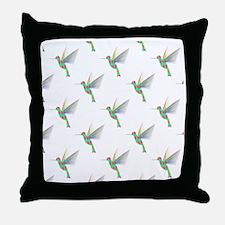 Rainbow Hummingbird Pattern Throw Pillow