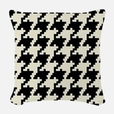 Black and Ivory Houndstooth Woven Throw Pillow