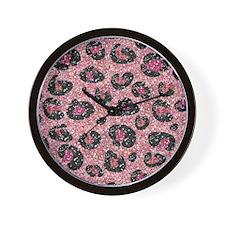 Pink Black Leopard Print Wall Clock