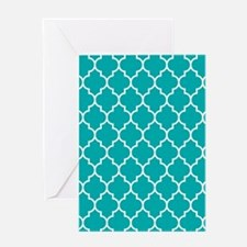 TEAL AND WHITE Moroccan Quatrefoil Greeting Cards