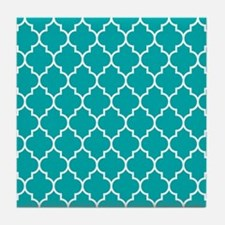 TEAL AND WHITE Moroccan Quatrefoil Tile Coaster
