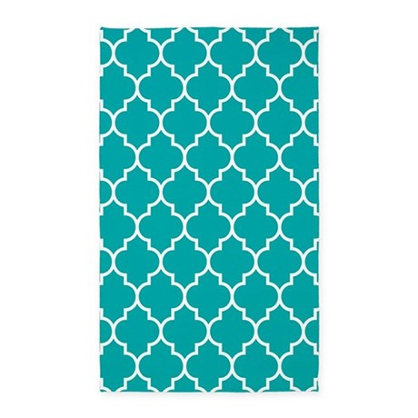 TEAL AND WHITE Moroccan Quatrefoil Area Rug by BeautifulBed