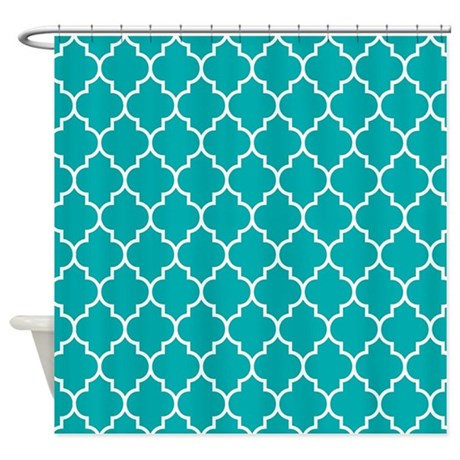 TEAL AND WHITE Moroccan Quatrefoil Shower Curtain By