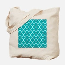 TEAL AND WHITE Moroccan Quatrefoil Tote Bag