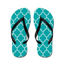 TEAL AND WHITE Moroccan Quatrefoil Flip Flops