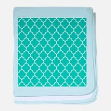TEAL AND WHITE Moroccan Quatrefoil baby blanket