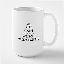 Keep calm you live in Weston Massachusetts Mugs