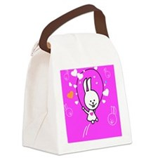 Cute Bunny Jumping Rope Canvas Lunch Bag