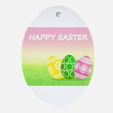 Happy Easter Pretty Eggs on Grass Ornament (Oval)