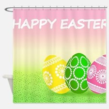Happy Easter Pretty Eggs on Grass Shower Curtain