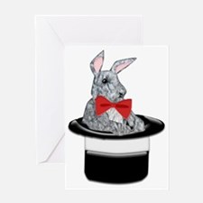 MAgic Bunny in a Top Hat Greeting Cards