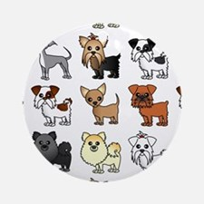 Cute Toy Dog Breed Pattern Ornament (Round)