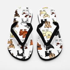 Cute Toy Dog Breed Pattern Flip Flops