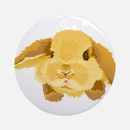 Fuzzy Lop Eared Bunny Ornament (Round)