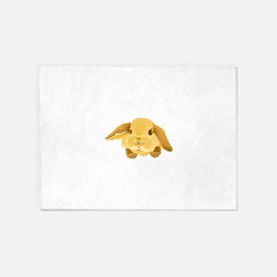 Fuzzy Lop Eared Bunny 5'x7'Area Rug