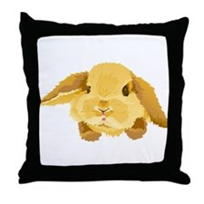 Fuzzy Lop Eared Bunny Throw Pillow