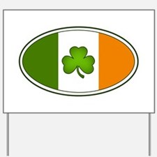 Irish Flag with Shamrock Yard Sign