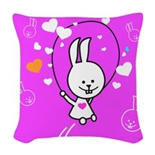 Cute Bunny Jumping Rope Woven Throw Pillow