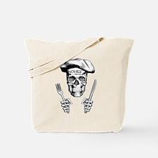 Knife and Fork Skull: White Tote Bag