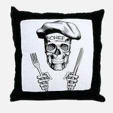 Knife and Fork Skull: White Throw Pillow