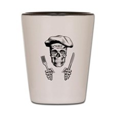 Knife and Fork Skull: White Shot Glass