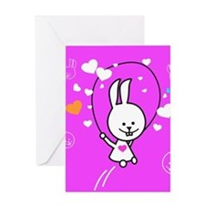 Cute Bunny Jumping Rope Greeting Cards