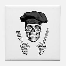 Knife and Fork Skull: Black Tile Coaster