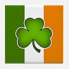 Irish Flag with Shamrock Tile Coaster
