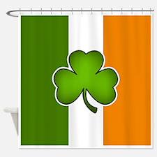 Irish Flag with Shamrock Shower Curtain