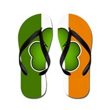 Irish Flag with Shamrock Flip Flops